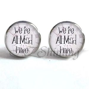 Jewelry - NEW Round Silver We Are All Mad Here Earrings